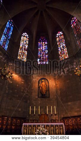Altar In Old Stone Basilica St Maria Del Pi, Saint Mary Of Pine Tree, Barcelona, Spain