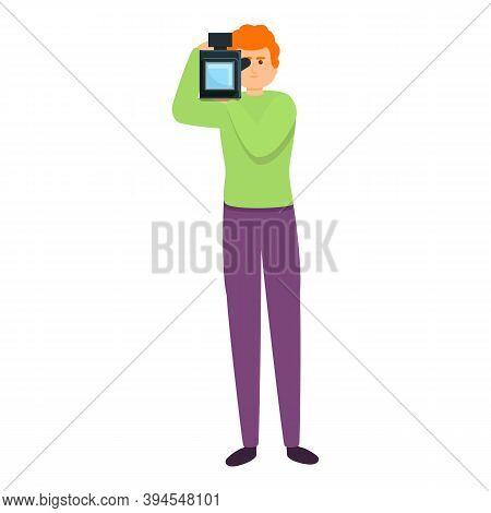 Professional Cameraman Icon. Cartoon Of Professional Cameraman Vector Icon For Web Design Isolated O