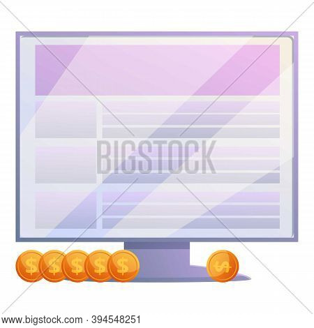 Data Monitor Monetization Icon. Cartoon Of Data Monitor Monetization Vector Icon For Web Design Isol