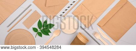 Banner With Eco-friendly Tableware - Kraft Paper Food Packaging On Light Grey Background. Street Foo