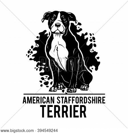 American Staffordshire Terrier - Dog Happy Face Paw Puppy Pup Pet Clip Art K-9 Cop Police Logo Svg P