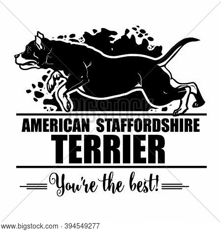 American Staffordshire Terrier In Jump - Dog Happy Face Paw Puppy Pup Pet Clip Art K-9 Cop Police Lo