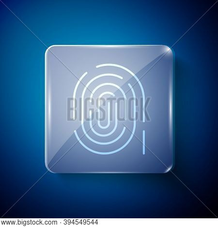 White Fingerprint Icon Isolated On Blue Background. Id App Icon. Identification Sign. Touch Id. Squa