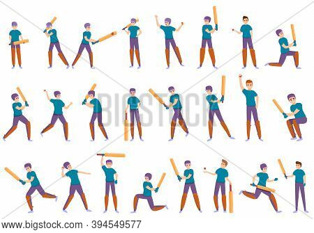 Kids Playing Cricket Icons Set. Cartoon Set Of Kids Playing Cricket Vector Icons For Web Design