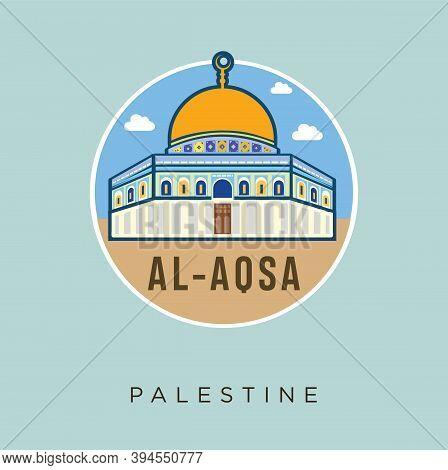 Al - Aqsa Mosque Palestine Jerusalem Flat Design Vector Stock. Palestine Travel And Attraction, Land