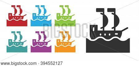 Black Sailboat Or Sailing Ship Icon Isolated On White Background. Sail Boat Marine Cruise Travel. Se
