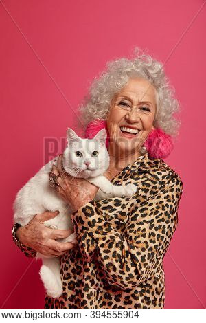 Indoor Shot Of Happy Wrinkled Granny Petting Her White Cute Cat, Being Old Friends, Dressed In Fashi