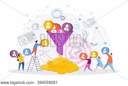 Sales Funnel Concept. Trendy Flat Vector Style Illustration On White Background.