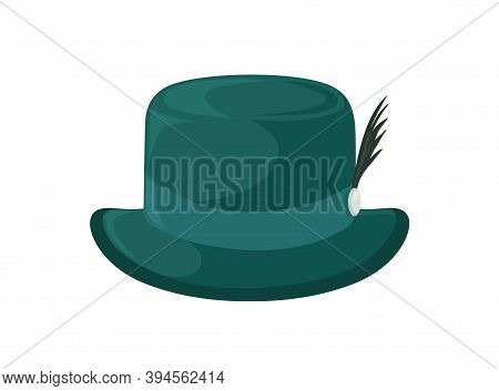 Old Fashioned Green Bavarian Brimmed Hat Decorated With Feather. Traditional Woolen Headdress. Flat