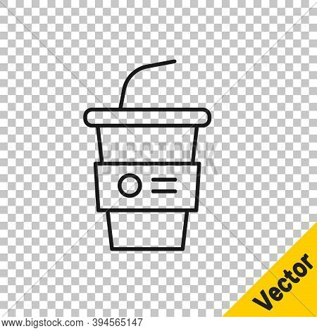 Black Line Paper Glass With Drinking Straw And Water Icon Isolated On Transparent Background. Soda D