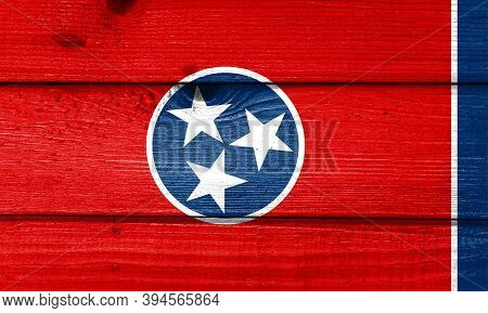 Tennessee Flag Painted On Old Wood Plank Background. Brushed Natural Light Knotted Wooden Board Text