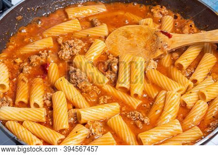 Cooking  Tortiglioni With Onion And Sausage Ragout, Pasta With Sausage Sauce With Onion And Tomato P