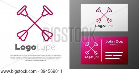 Logotype Line Arrow With Sucker Tip Icon Isolated On White Background. Logo Design Template Element.