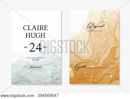 Watercolor Wedding Invite Card, Abstract Acrylic Painting Rustic Save The Date Template. Blue Ink Wi
