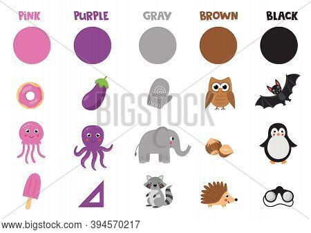 Flashcard With Primary Colors Objects. Set Of Colorful Objects And Animals.