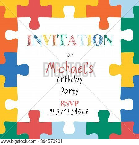 Puzzle Pieces Border Frame. Square Kids Invitation Template. Hand Drawn Vector Illustration For Chil
