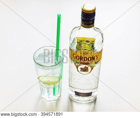 Moscow, Russia - November 4, 2020: Above View Of Bottle Of Gordon's London Dry Gin And Highball Glas