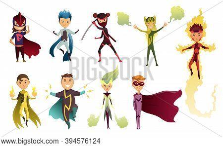 Cartoon Superhero Kids Characters. Joyful Kid Wearing Super Hero Costume With Mask And Comic Cloak F