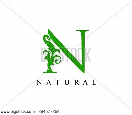 Green N Letter Logo. Green Floral N With Classy Leaves Shape Design Perfect For Boutique, Jewelry, B