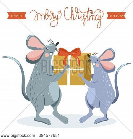 Rat Gives A Present To Another Rat. Rat Is Chinese Symbol 2020 Year. Merry Christmas And Happy New Y