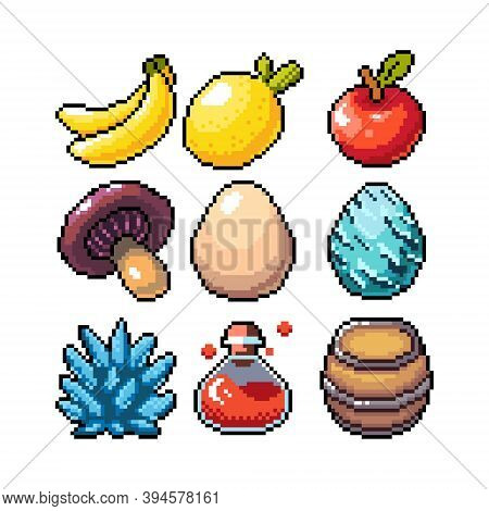 Set Of 8-bit Pixel Graphics Icons. Isolated Vector Illustration. Fruits, Elixir, Potions, Mushrooms,