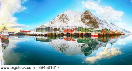 Outstanding Panoramic View Of Small Fishing Village Ramberg At Sunrise. Travel Destination On Lofote