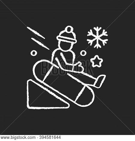 Snow Tubing Chalk White Icon On Black Background. Fun Children Ride Downhill. Extreme Sledging. Wint