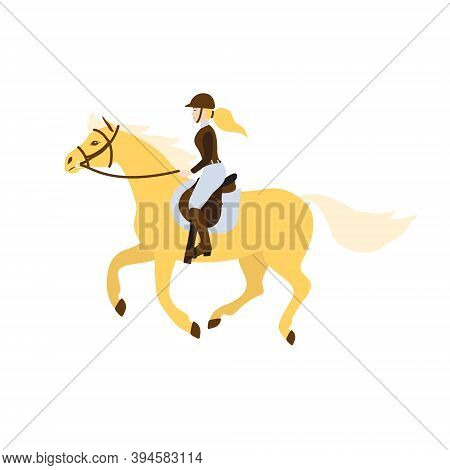 Vector Flat Cartoon Blond Girl Woman Riding A Galloping Horse In Show Jumping Competition Isolated O