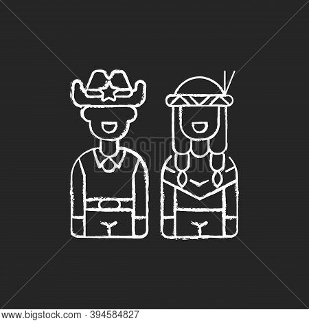 Wild West Chalk White Icon On Black Background. American Frontier. Native Tribes. Indigenous Lands.