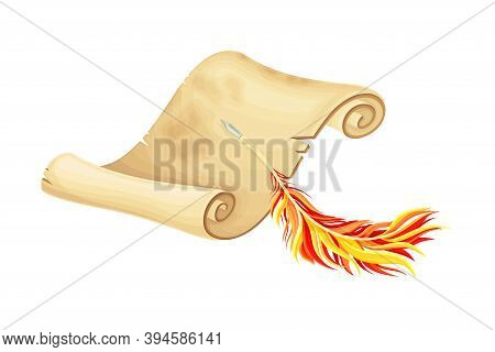 Old Scroll Or Curved Manuscript With Quill Vector Illustration