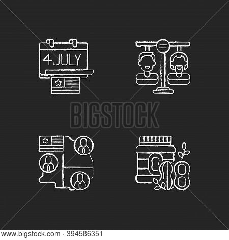 United States Chalk White Icons Set On Black Background. Independence Day. Equality. Electoral Colle