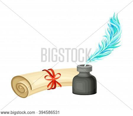 Ancient Papyrus Scroll Binded With Red Ribbon And Quill In Inkstand Vector Illustration