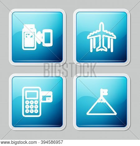 Set Line Pos Terminal, Plane, Pos And Mountains And Flag Icon. Vector
