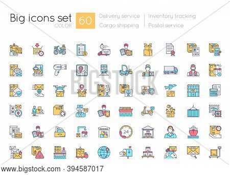 Shipping And Delivery Blue Rgb Color Icons Set. Postal Services. Logistic Industry. Inventory Tracki