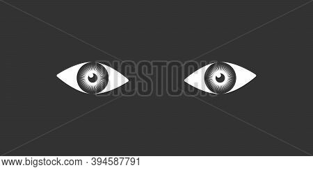 Eyes Human Graphic Icon. Gaze Someone Sign Isolated On Black Background. Man View Symbol. Vector Ill