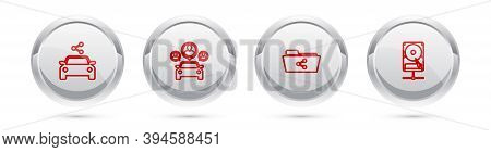 Set Line Car Sharing, , Share Folder And Hard Disk Drive On Network. Silver Circle Button. Vector