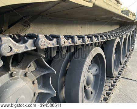 Heavy Tank On Tracks. Armored Military Equipment. Infantry Combat Equipment. Kiev, Pechersk Lavra Di