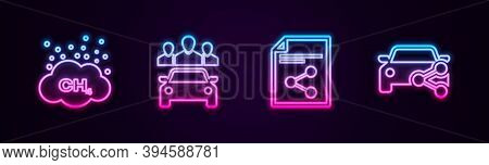 Set Line Methane Emissions Reduction, Car Sharing, Share File And . Glowing Neon Icon. Vector