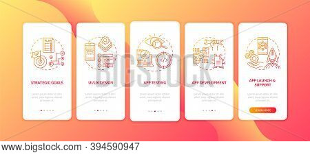 Mobile App Development Process Onboarding Mobile App Page Screen With Concepts. App Launch And Suppo
