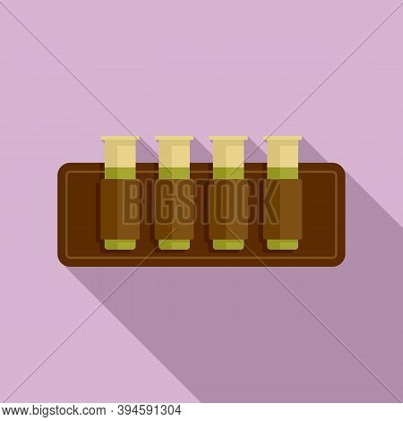 Hunting Cartridges Icon. Flat Illustration Of Hunting Cartridges Vector Icon For Web Design
