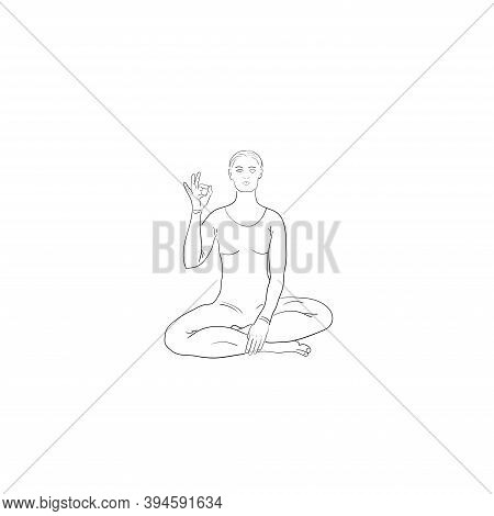 Young Woman Showing Symbol Okay In Pose Lotus, Hand Drawn Vector In Line Art Of Black. Yoga Vector I