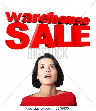 Young girl with SALE sign, isolated on white background