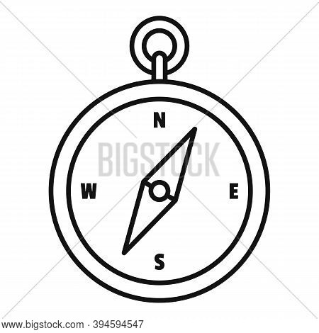 Safari Hunting Compass Icon. Outline Safari Hunting Compass Vector Icon For Web Design Isolated On W