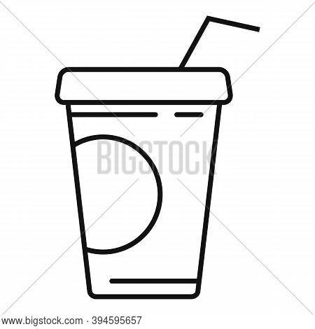 Cola Cup Drink Icon. Outline Cola Cup Drink Vector Icon For Web Design Isolated On White Background