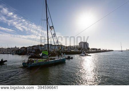 Les Sables D'olonne, France - November 08, 2020: Stephane Le Diraison Boat (time For Ocean) In The C