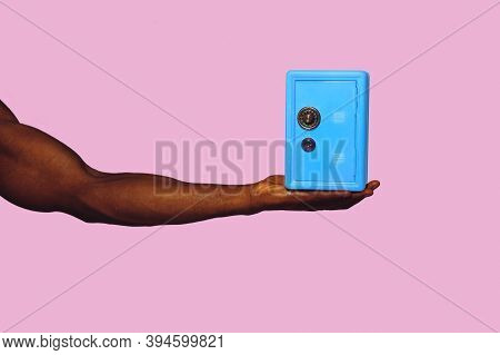 Safe, Vault. Modern Art Collage In Pop-art Style. Hands Isolated On Trendy Colored Background With C