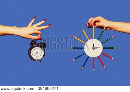 Time Lost. Modern Art Collage In Pop-art Style. Hands Isolated On Trendy Colored Background With Cop