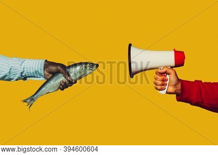 Fish Talking. Modern Art Collage In Pop-art Style. Hands Isolated On Trendy Colored Background With