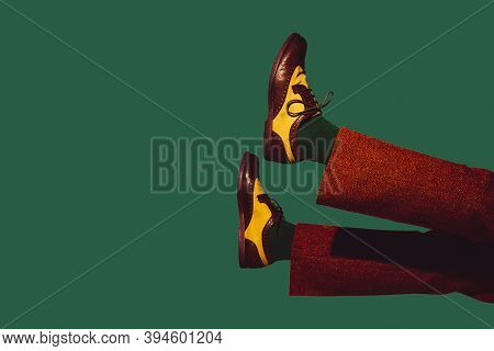 Stylish Shoes, Outfit. Modern Art Collage In Pop-art Style. Legs Isolated On Trendy Colored Backgrou