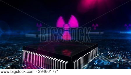Cyber Attack With Nuclear Symbol 3D Illustration